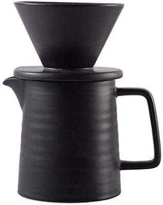 Pour Over Coffee Maker Set, Premium Black Ceramic V60 Dripper & Decanter